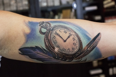 Tatuaggi tattoo Pocket watch arm