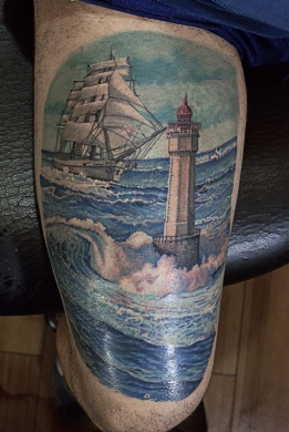 Tatuaggi tattoo lighthouse colour tattoo